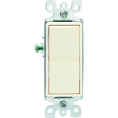 Leviton Decora Designer Rocker Switch, Residential Grade, Single Pole, 120/277 Volt, 15 Amp, Light Almond