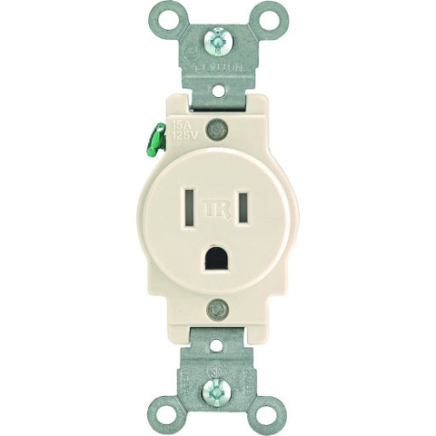 Leviton Tamper-Resistant Single Receptacle, Commercial Grade, Straight Blade, Nema 5-15R, 125 Volt, 15 Amp, Light Almond