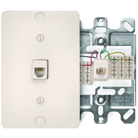 Leviton Telephone Wall Jack, Light Almond