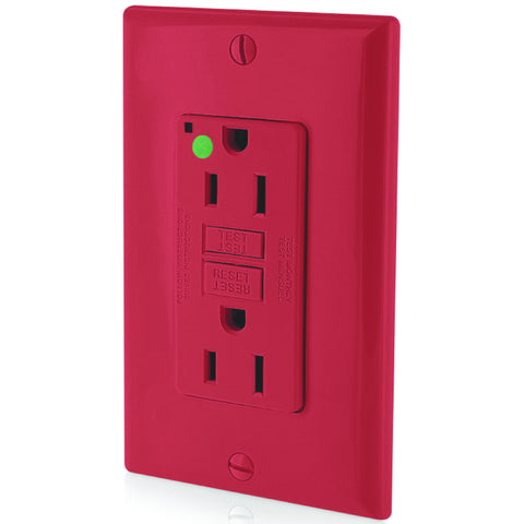 Leviton Smartlockpro Slim GFCI Receptacle with Wallplate, Hospital Grade, Nema 5-15R, 125 Volt, 15 Amp, Red