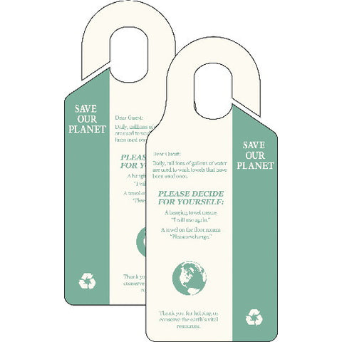 "Hy-Ko Productså¨ ""Save Our Planet, Do Not Change Towels"" Door Hanger, 50 Per Pack"