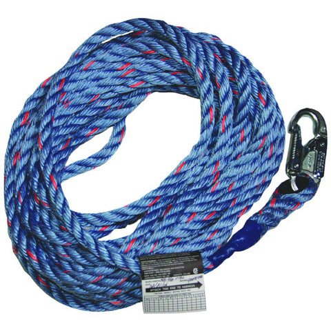"Millerå¨ 50' Synthetic Lifeline Rope: 5/8"" Diameter, Polyester/Polypropylene Rope with Snap Hook and Loop"
