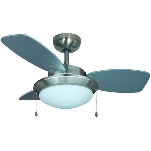 "Royal Cove䋢 30"" Brushed Chrome Single Mount Ceiling Fan with Frosted Disc Light Kit"