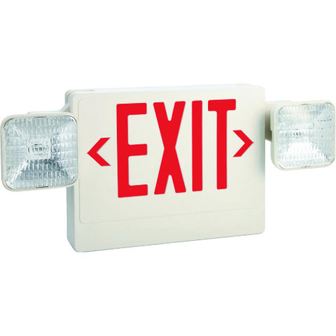 Exit and Emergency Light Combo, Single Face with Red Exit Lettering, Remote Capable