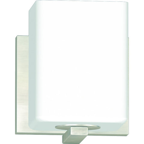 "1-Head Vanity Lighting, Brushed Nickel, 4-3/4 X 5 X 5-7/8"", 1 100-Watt E26 Base Bulb (Not Included)"