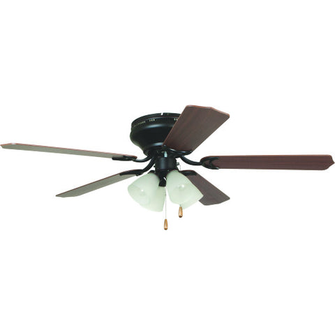 "52"" Litex Brilliante Oil-Rubbed Bronze 5-Blade Hugger-Mount Ceiling Fan with 4-Light Kit and Cherry/Mahogany Blades"