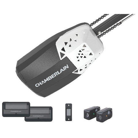 Chamberlainå¨ Chain Drive Garage Door Opener Access Control, 1-2 Hp, 2 Remote Controls
