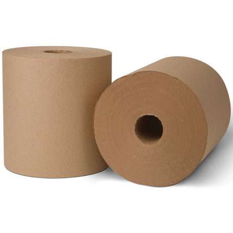 "8"" x 1,000' Natural Controlled Use Roll 1-Ply Paper Towels (6 per Case)"