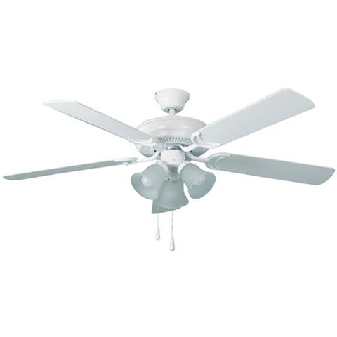 "52"" White Dual Mount Ceiling Fan with 3-Light Kit and Matte White Blades"