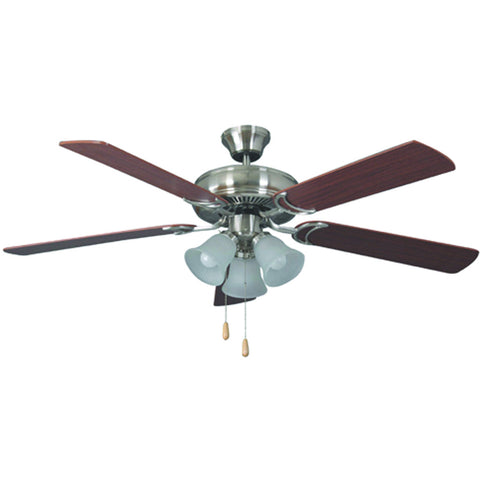 "52"" Brushed Nickel Dual Mount Ceiling Fan with 3-Light Kit and Dark Oak/Mahogany Blades"