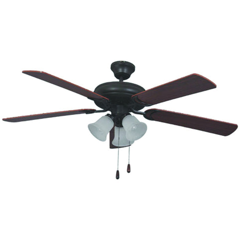 "52"" Bronze Dual Mount Ceiling Fan with 3-Light Kit and Dark Oak/Mahogany Blades"