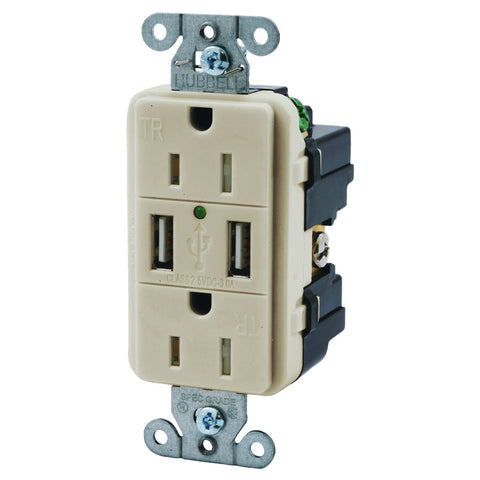Hubbell Tamper Resistant USB Charger Duplex Receptacle, 15 Amp, Light Almond