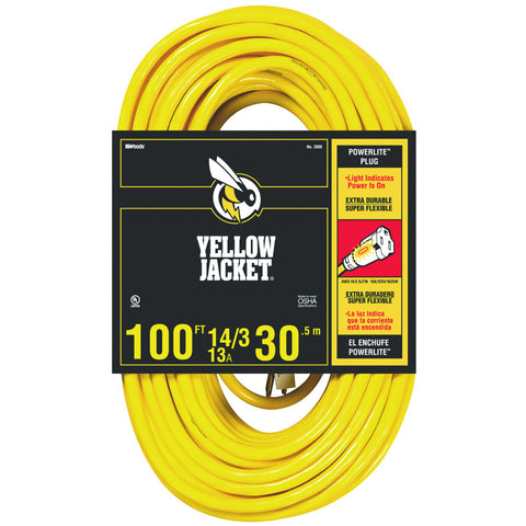 14/3 SJTW 100' Extension Cord with Lighted Receptacle, Yellow