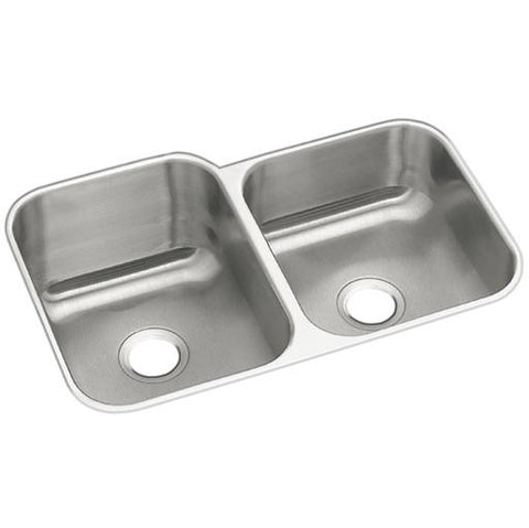 "Elkay Dayton Undermount Sink, Double Bowl, Stainless Steel, 18 Gauge, 31.25"" X 20.5"" X 8"" - 10 In."