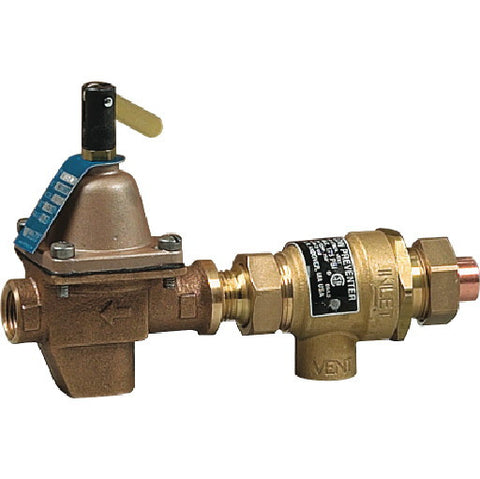 "Backflow Preventer and Hot Water Boiler Fill Valve, 1/2"" Sweat"