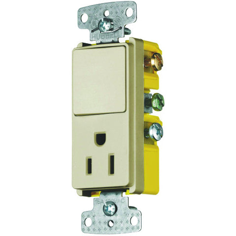 Rocker Combo Switch and Receptacle 15 Amp Ivory