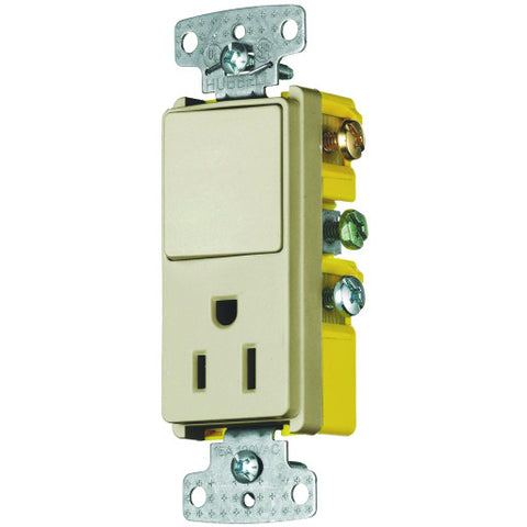 Rocker Combo 3 Way Switch and Receptacle Ivory