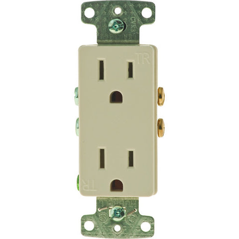 Decorator Receptacle Tamper Proof Self-Grounding 15 Amp Almond