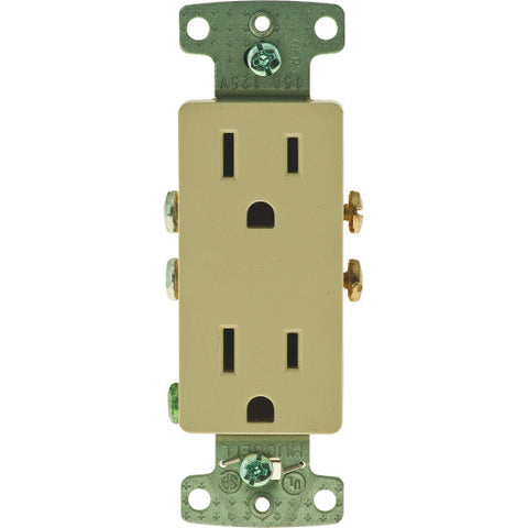 Decorator Receptacle Self Grounding 15 Amps Ivory