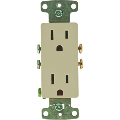 Decorator Receptacle Self Grounding 15 Amps Almond