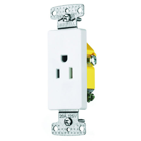 Decorator Receptacle Single Self Grounding 15 Amp White