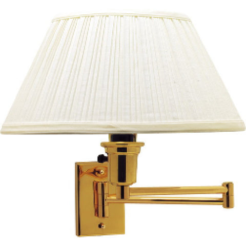 Swing Arm Wall Lamp, Maximum One 150 Watt Three Way Incandescent Medium Base Bulb, Polished Brass With White Shade