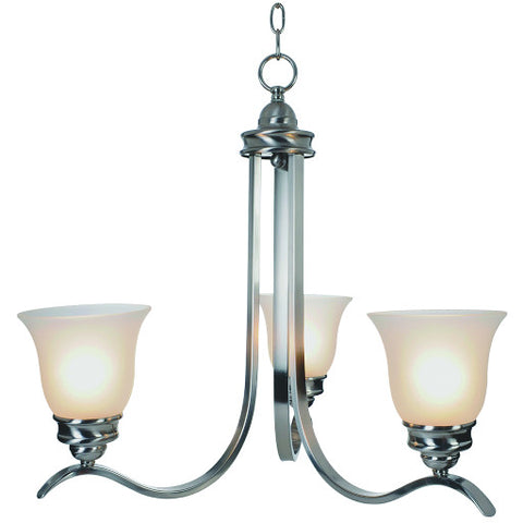 "Sanibel䋢 Chandelier Ceiling Fixture, Maximum Three 60 Watt Incandescent Medium Base Bulbs, 24-3/4"", Brushed Nickel"