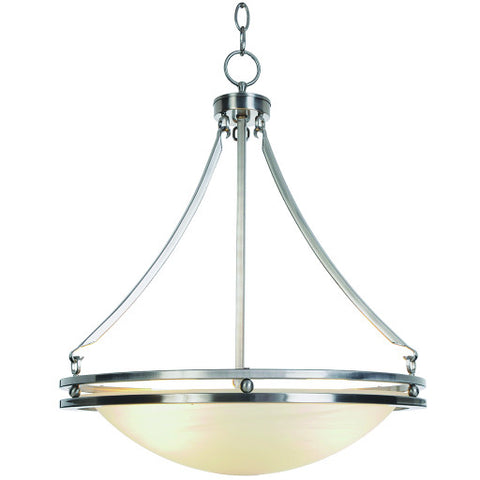 "Contemporary Chandelier Ceiling Fixture with Five 13 Watt Gu24 Type Fluorescent Lamps, 20-5/8"", Brushed Nickel"