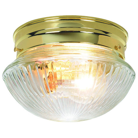 "Ribbed Mushroom Shaped Clear Glass Ceiling Fixture, Maximum Two 60 Watt Incandescent Medium Base Bulbs, 8"", Polished Brass"