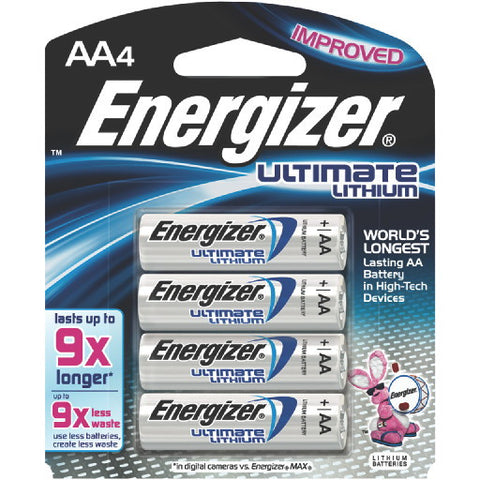 Energizer Ultimate Battery AA Lithium, 4 Pack