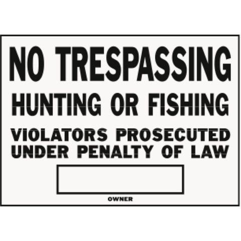 "Aluminum ""No Trespassing"" Sign (12 per Pack)"