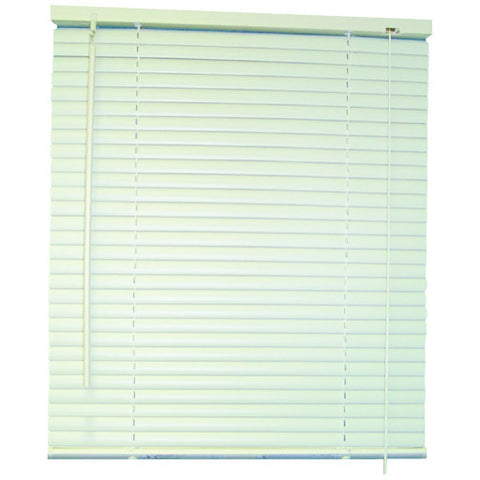 "White Vinyl Mini Blinds with 1"" Slats and Valance, 64"" Long"