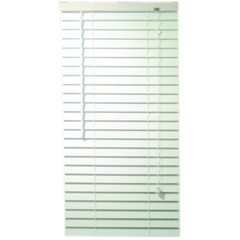 "White Faux Wood Mini Blinds with 2"" Slats and Contemporary Valance, 68"" Long"