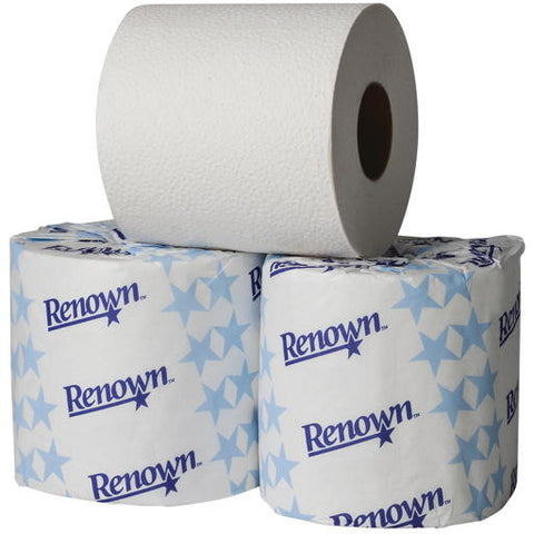 Renownå¨ Universal Bath Tissue, Single-Roll, 1-Ply, 96 Rolls Per Case