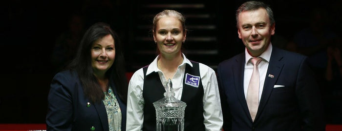 Reanne Evans, with Mandy Fisher and Jason Ferguson