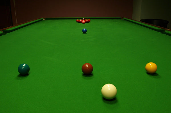 Snooker table set up for play