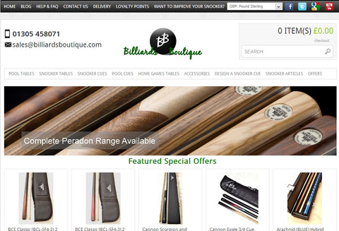 Old Billiards Boutique website