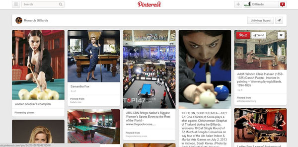 Pinterest Boards for pool and snooker