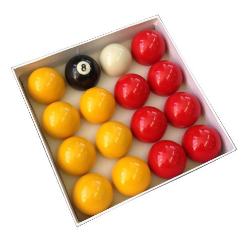 "Billiard Pro 2"" English Pool Balls - Reds and Yellows"