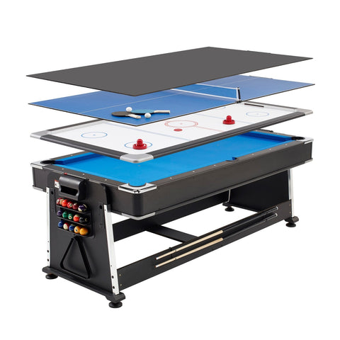 3 in 1 7ft Revolver Games Table - Air Hockey, Pool & Table Tennis