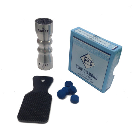 Blue Diamond Cue Tips, Tip Tapper & Cuetec Bowtie Tip Tool Accessory Pack