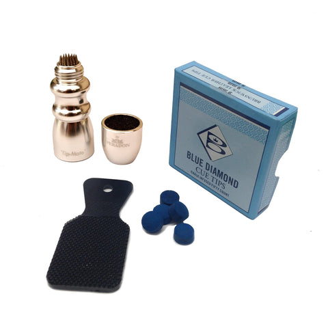 Blue Diamond Cue Tips, Tip Tapper & Peradon Tip Mate Value Pack