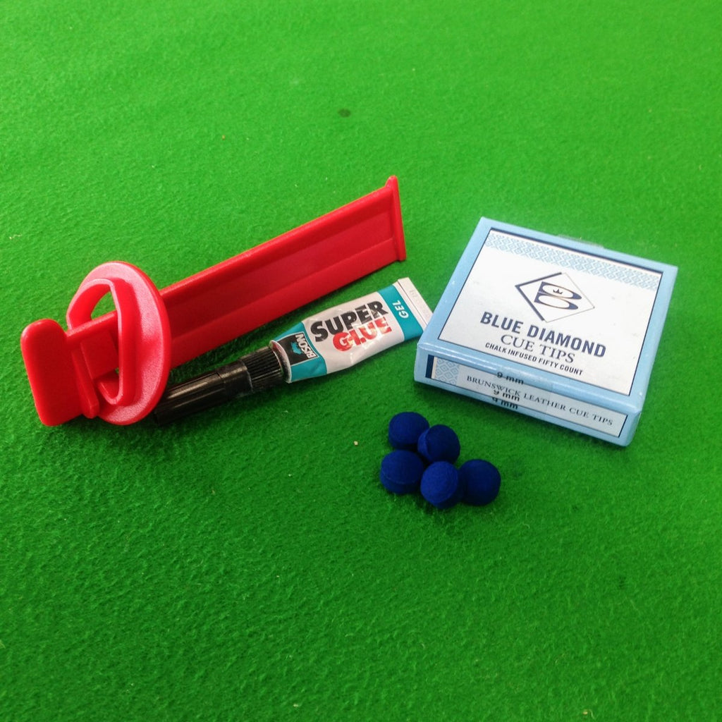 Blue Diamond Cue Tips, Tip Clamp & Bison Glue Value Kit - Billiards Boutique