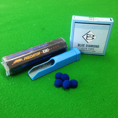 Blue Diamond Cue Tips, Predator 1080 Pure Chalk & Supafile Value Pack