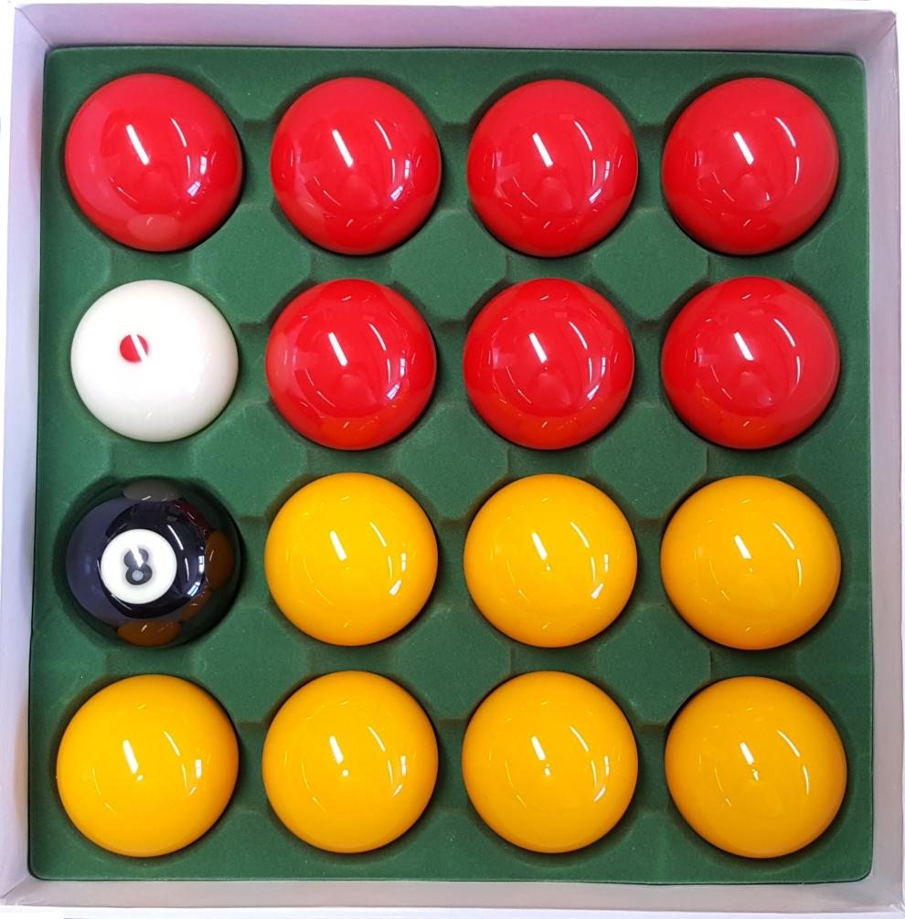 "Cyclop 2"" Professional English Pool Balls - Red and Yellow - Billiards Boutique"