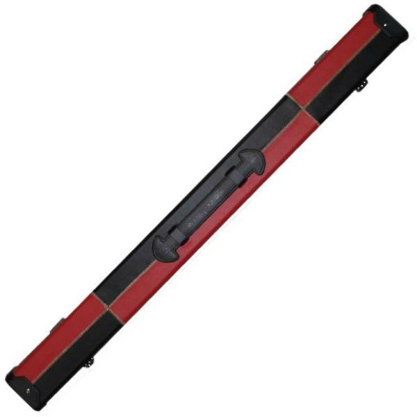 Britannia 2 Piece Leatherette Cue Case - Black and Red Patchwork