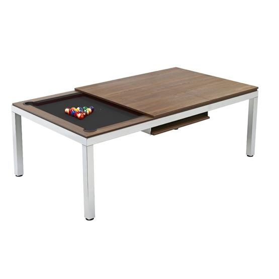 8ft Cube Slate Bed Pool Dining Table | Walnut Finish