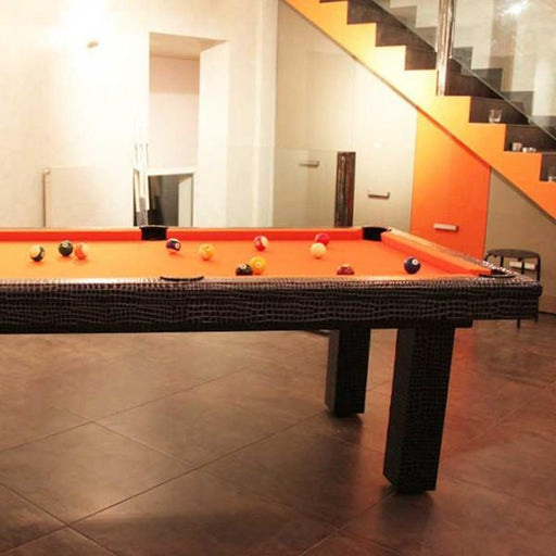 American Pool Tables - Toulet Leather Black Crocodile American Pool Table