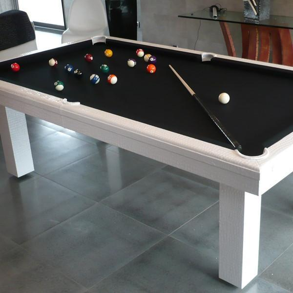 Toulet Leather White Crocodile American Pool Table