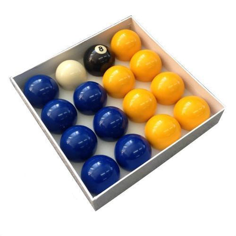 "Billiard Pro English Pool Balls - Blues and Yellows (2"")"